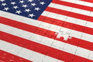 American flag with puzzle piece missing
