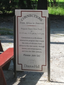 "Every day Drayton Hall offers ""Connections,"" a 45-minute program that traces the story of Africans from Africa to the new world and into the 20th century."