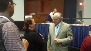 Jack Phillips (right) discussing ROI at ASTD 2014.