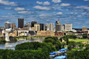 St. Paul, Minnesota along the banks of the Mississippi River.