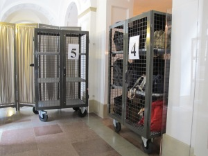 Security carts at the Dam, the royal palace in Amsterdam.