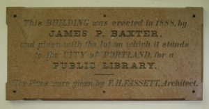 Plaque recognizing James Baxter, donor of the Portland Public Library, 1888.