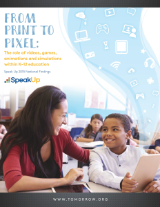 """From Pixel to Print,"" the 2015 report on the use of technology in K-12 education."