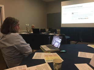 Robert Folorny listening to Gretchen Jennings presentation at the Small Museum Association conference, 2017.